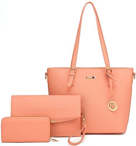 Women Shoulder Handbag + Envelopes+Wallet 3 Piece Set Bag for Work and Travel (Pink)
