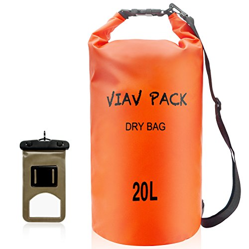 - VIAV Waterproof Dry Bag 10L [Lightweight Compact] Roll Top Water Proof Backpack Sack with Cellphone Case for Kayaking, Boating, Duffle, Camping, Floating, Rafting, Fishing