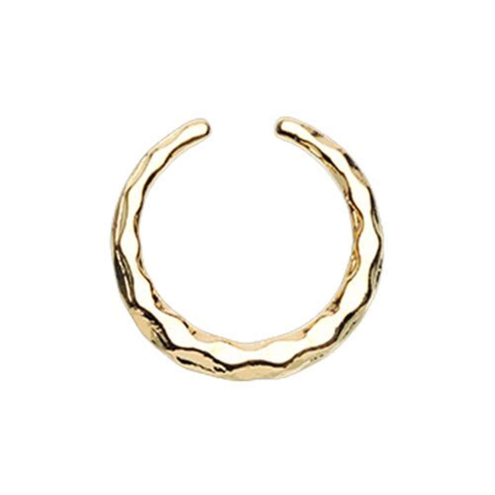 Golden Faceted Textured WildKlass Septum Retainer Ring