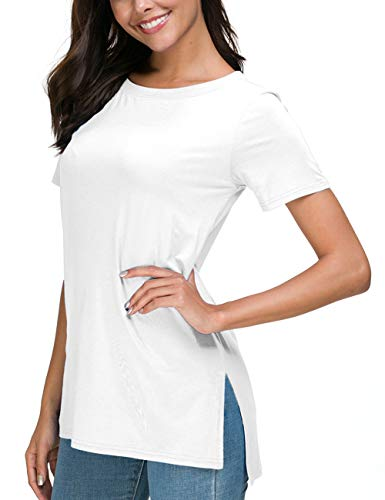 Herou Short Sleeve Casual Round Neck T-Shirt Tops for Women (White, Large)