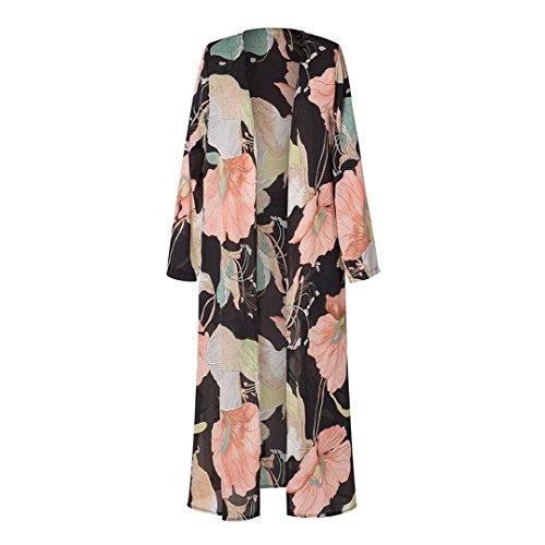 (Sikye Coverup Coat Top,Ladies Womens Beach Lotus Leavf Print Long Maxi Cardigan Lightweight (Black, L))