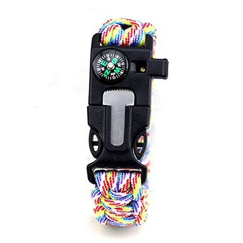 CAMORNY Multifunctional Compass Braided Rope Survival Bracelet Compass Whistle Flint Emergency Umbrella Bracelet Outdoor Camping Travel Hike