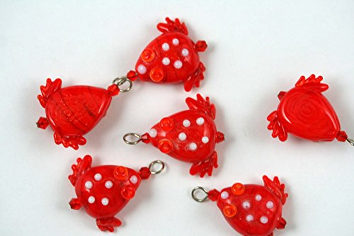 Tropical Design Red Frog Lampwork Glass Bead (Pack of 6)
