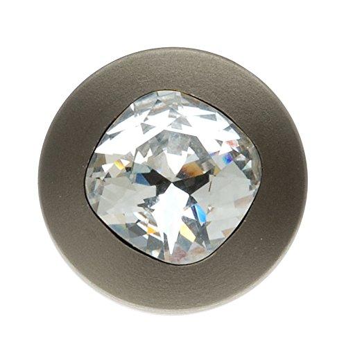 (Swarovski Elements Gun Metal Tone Cushion Crystal Jean Button 17mm (1 Set) )