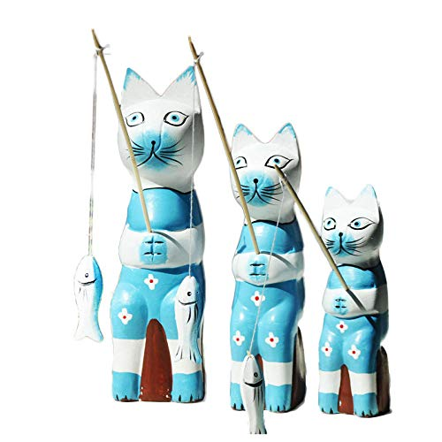 DSZXHN Statues for Home Decor,Creative Cute Blue Three Fishing Cat covid 19 (Cat Fishing Sculpture coronavirus)