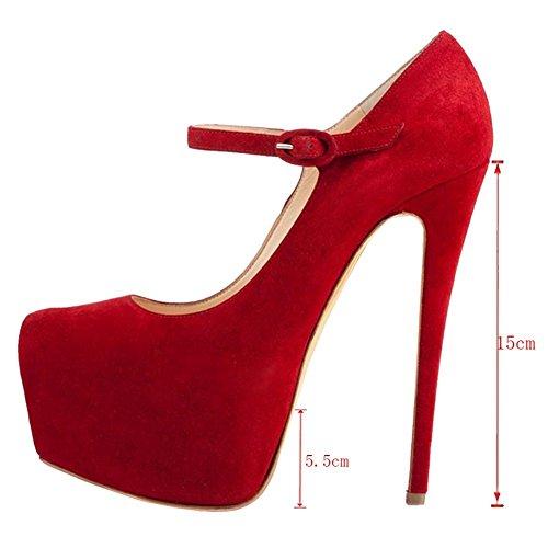 Formato Pompa Piattaforma Jane Joogo Di Rosso Mary Cinghia Alti Pattini Stiletto Donne Caviglia 13 Vestito Talloni F5IIqO