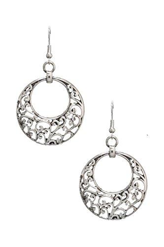 """Open Scroll Design Earrings - Victorian Nouveau Look Lacy Filigree Open Work Round Silvertone Dangle Hoop Earrings 2 1/4"""" Long"""