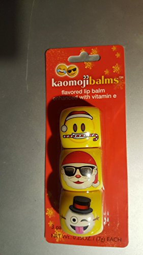 set pof 3 Kaomojibalms flavored lip balm SANTA WITH CANDY CANE/frosted mint, SANTA WITH SUGLASSES/French Vanilla, WINKING SNOWMAN/coconut - Suglasses
