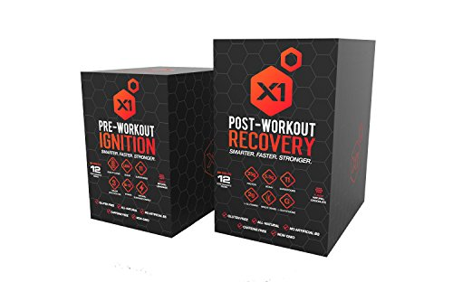 X1 Fuel Pre-Workout Ignition Protein Powder 12 Single Serving Packets (Chocolate, 12pack / 48gram)