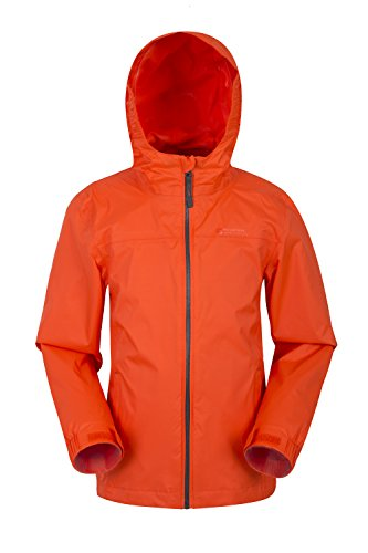 Mountain Warehouse Torrent Kids Waterproof Rain Jacket - Mesh Lined Orange 11-12 Years