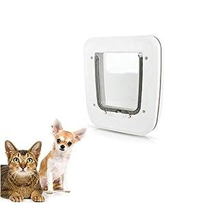 PETEMOO Puertas para Perros pequeños gateras para Perros y Gatos 4 vías de Bloqueo gateras de Mascotas Puerta de Solapa