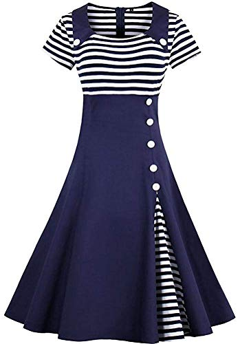 Womens 1950s Vintage Sailor Dress Short Sleeve Stripes Party Swing Dress AT07 (Navy Blue, - Retro Dress Sailor