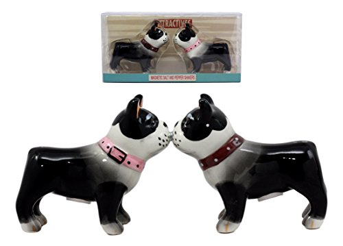Atlantic Collectibles Dog Boston Terrier Salt & Pepper Shakers Ceramic Magnetic Figurine Set - Figurine Boston Terrier Dog
