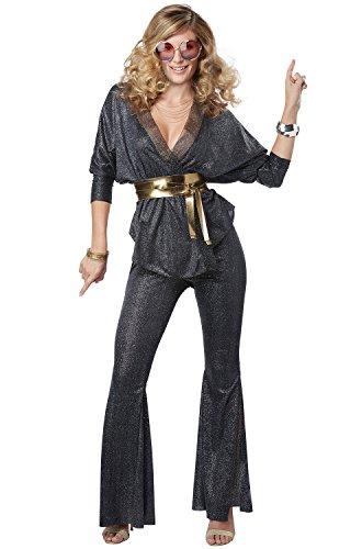 California Costumes Women's Disco Dazzler Adult Woman Costume, Black/Gold, - 70s Women