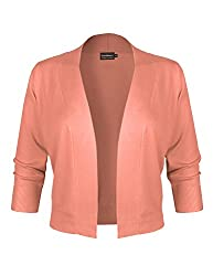 Basic Basic Bbp Classic 3 4 Sleeve Open Front Cropped Bolero Cardigan Peach Xl