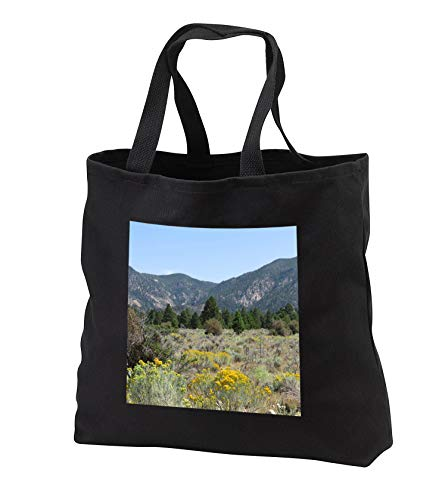 Jos Fauxtographee- Pine Valley Scenery - Pine Valley Utah scenery with rabbit brush and trees - Tote Bags - Black Tote Bag JUMBO 20w x 15h x 5d (tb_294486_3)