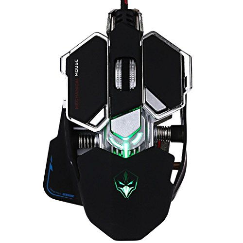Theshy Wired Gaming Machine Mouse Black White Luom G10 4000Dpi Adjustable Wrist Support Bungee Repellent Large Game Mice Usb Optical Pro Gamer Pad Trap For Laptop With (Black)