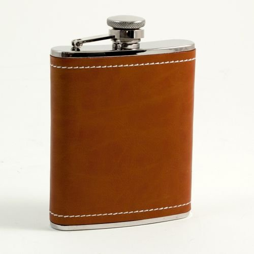 Saddle Stitch Staple (6 oz. Saddle Leather & White Stitch Flask)