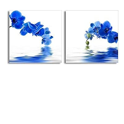 Professional Creation, Stunning Composition, Blue Orchid Flower with Reflection in Water Home Deoration Wall Decor x 2 Panels