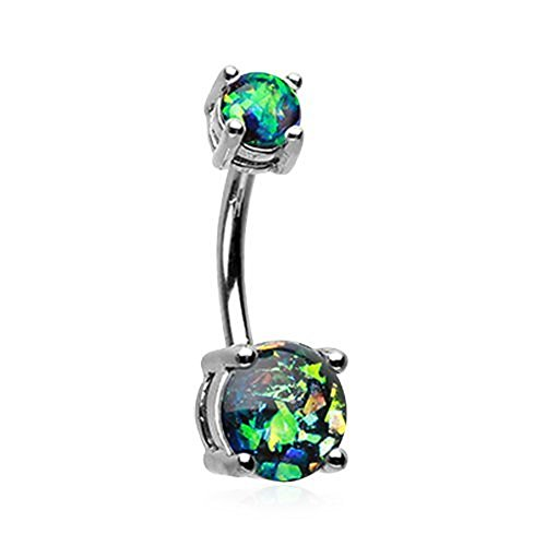 Opal Sparkle Belly Button Ring (Black)