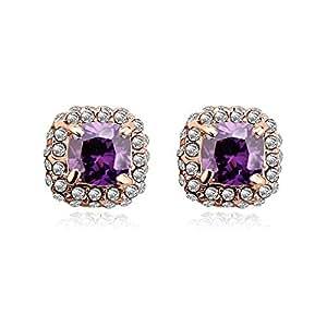 ZMC Women's Rose Gold Plated Alloy Swarovski and Austrian Crystals Stud Earrings, Rose Gold/Purple Velvet