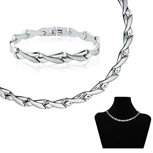 SoulCats® Set Edelstahl Collier und Armband Kette Ankerkette Halskette Gliederkette silber matt glänzend, Modell: 8