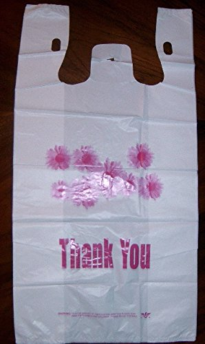 Four Daisy (Grocery and Retail T-shirt Shopping Bag 1/6 Size Daisy Print Thank You 24 Mic)