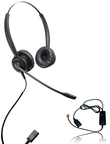 XS 825 Headset Bundle with Ergonomic Telephone Cable | For RJ9 Phones with Headset Port - VoIP, IP, Digital Phones: Cisco, Mitel, ShoreTel, Aastra, Toshiba, Nortel, Meridian, Yealink, NEC, Allworkx from Global Teck Worldwide