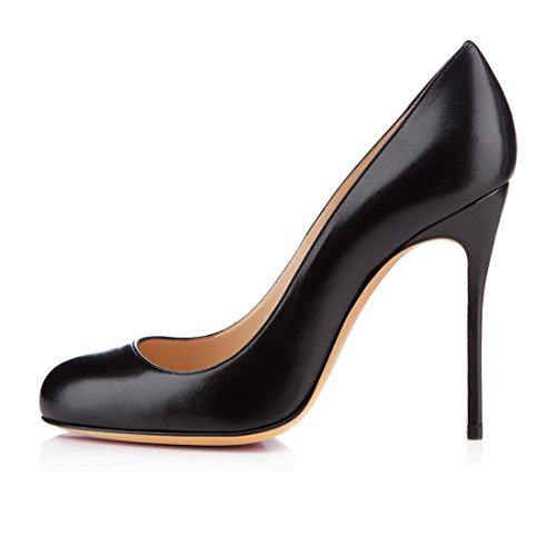 High Round Matte Shoes Toe 10cm Heel Pumps Heels Leather Court Pump Black Eldof Womens Stilttoes Patent Iqw0nA05