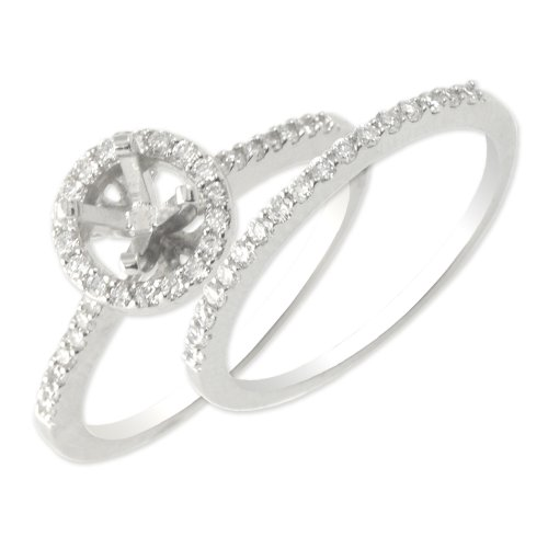 TriJewels Diamond Bridal Set Comes with Semi Mount Ring & Wedding Band 0.40 ctw in 14K White Gold.size 6.0