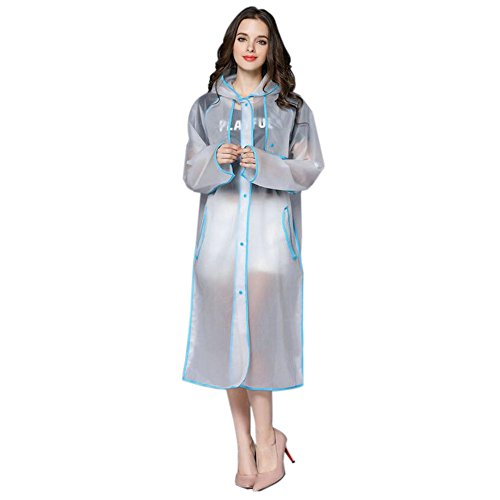 Deylaying Femmes  la mode EVA Transparent Impermable Longue Sports Portable Vtements de pluie Encapuchonn Poncho De plein air Sports Randonne Raincoat Bleu