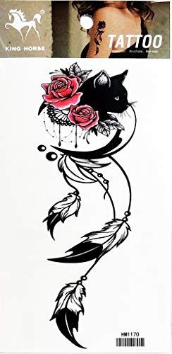 PP TATTOO 1 Sheet Black cat Feather Rose Flower Arm Body Sticker Tattoo Art Make up for Men Temporary Tattoos Paper Waterproof for Men Women -