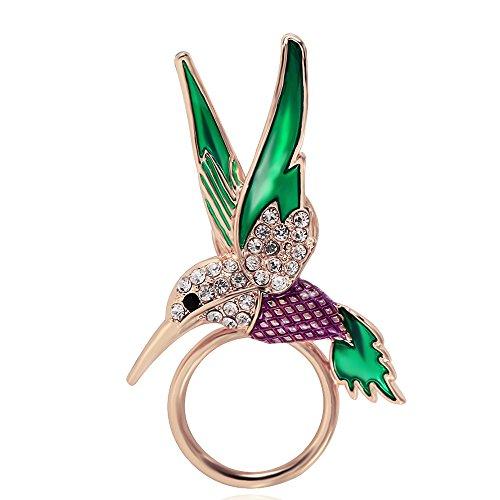 BEICHUANG Delicate Enamel Hummingbird Magnetic EyeglassHolder Colorful Bird Jewelry (rose (Enamel Eyeglass Holder)