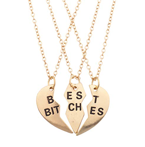 Lux Accessories Best Bitches BFF Friends Forever Valentine Heart 3 PC Necklace Set -