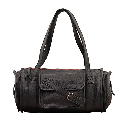 MARIE Noir sac à main en cuir forme polochon style vintage PAUL MARIUS