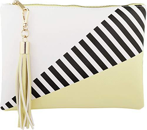 (B BRENTANO Vegan Clutch Bag Pouch with Tassel Accent (Mellow Yellow))