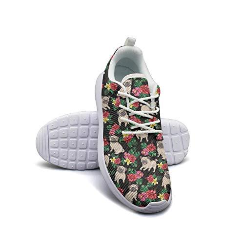 Flower and Pug Dog Black Men Canvas Casual Shoes Light Walking Shoes (Light Bone Footwear)
