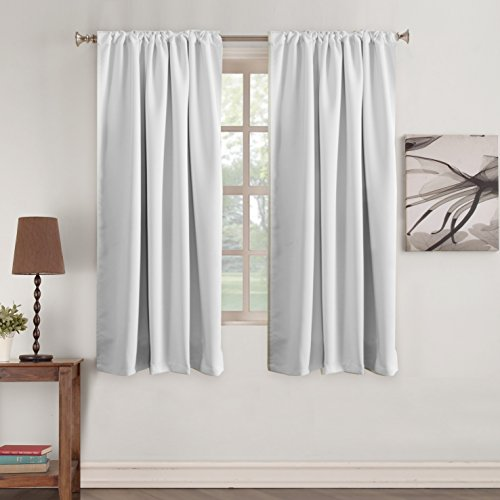 Turquoize White Light Reducing Curtains Premium Thermal Insulated Blackout Rod Pocket Curtains for Bedroom Back-Tab 100% Privacy Window Drapes (2 Panels) - Greyish White - 52