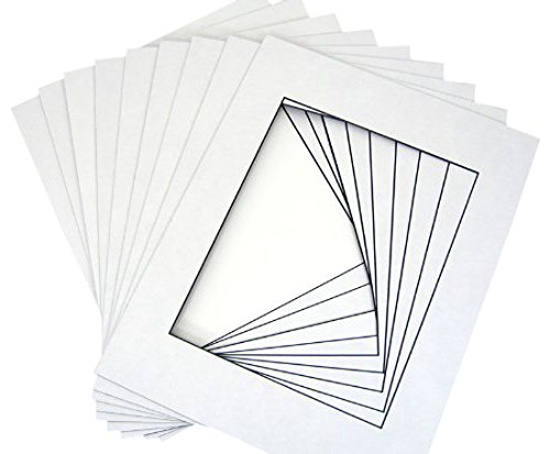 50 12x16 Picture Mats for 8x12, White w/ Blackcore + Backing + Bag by Golden State Art