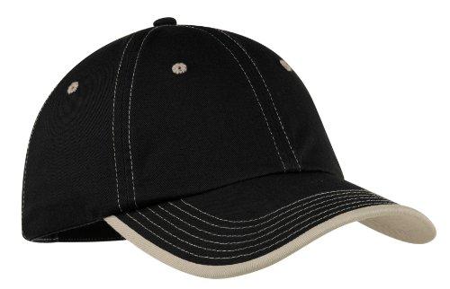 (Port Authority Men's Vintage Washed Contrast Stitch Cap OSFA Black/Stone )