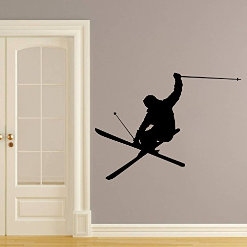(Wall Decals Skiing Skier Snow Ski Skiing Freestyle Jumping Extreme Sports Winter Gift Kids Nursery Boys Room Wall Vinyl Decal Stickers Bedroom Murals)