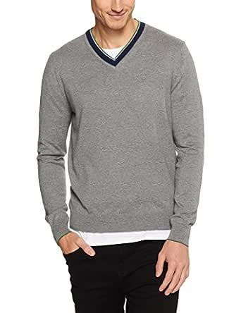 Ben Sherman Men Cotton Cashmere Tipped V Neck Knit, Silver, XL