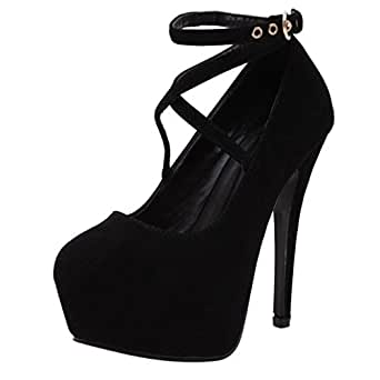 26a96498e864 Amazon.com  Aurorax Women s Ankle Strappy Platform Pump High Heels ...