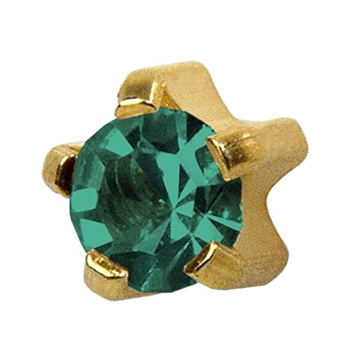 [Studex Ear Piercing Large Gold Plated Birthstone Stud Earrings 5mm Claw Setting - December / Blue] (Tiffany Blue Costume Jewelry)