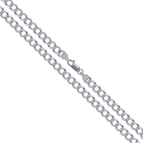 10k White Gold Solid Curb Link Chain 2mm Necklace 20