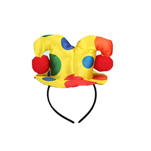 Frcolor Polka Dot Clown Hat Headband, Circus Jester Harlequin Hairband Costume Fancy Dress for Adults Kids