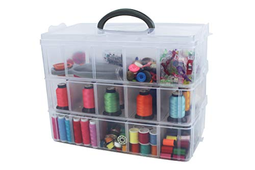 Bins & Things Storage Container with 30 Adjustable Compartments for Storing & Organizing Sewing Embroidery Accessories Threads Bobbins Beads Beauty Supplies Nail Polish Jewelry Arts & Crafts - Large]()