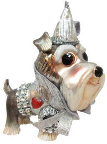December Diamonds Blown Glass Schnauzer Dog Tin Man Ornament