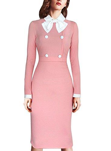 Aro Cocktail Bodycon Dress Vintage Party Bowknot Women's Celebrity Lora Pink ggrBZ