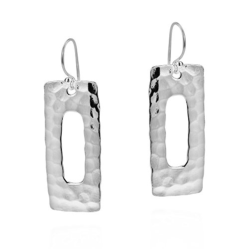Handcraft Hammered Earrings (Modern Rectangle Hammered .925 Sterling Silver Dangle Earrings)
